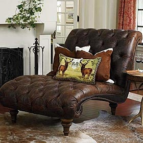 Brown leather chaise from King Ranch Saddle Shop.  Would love this by my bedroom window...