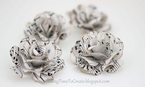DIY Paper Flowers made with sheet music - a Silhouette project