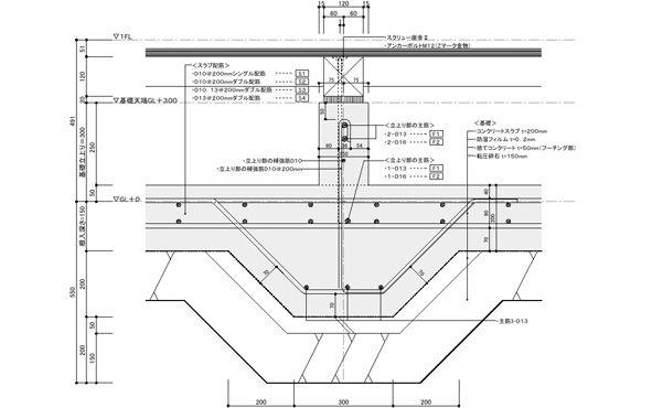 基礎配筋の検討 都市設計 施工図 建築