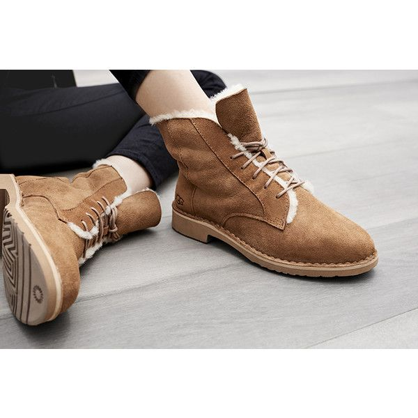 UGG Quincy ($170) ❤ liked on Polyvore featuring shoes, boots, ankle booties, ugg footwear, ugg shoes, light weight shoes, sheepskin shoes and lightweight shoes