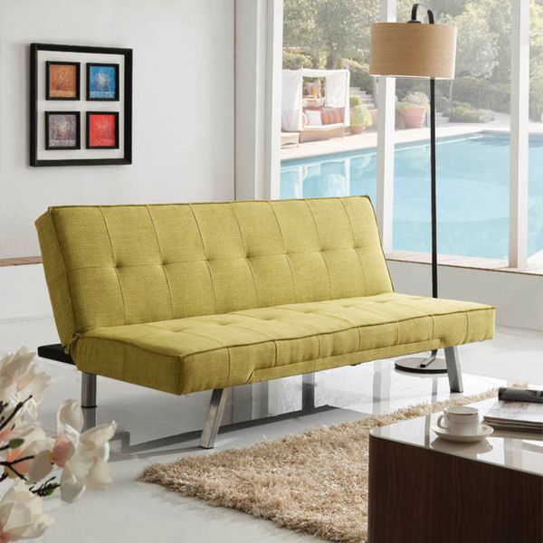 Corvus Kiwi Green Fabric Folds to a Bed Sofa