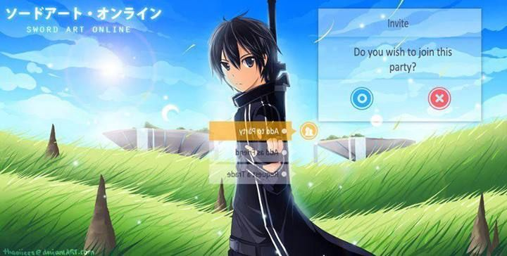 Sword Art Online. click yes this is kirtio inviting YOU to HIS party. SENPAI HAS NOTICED US