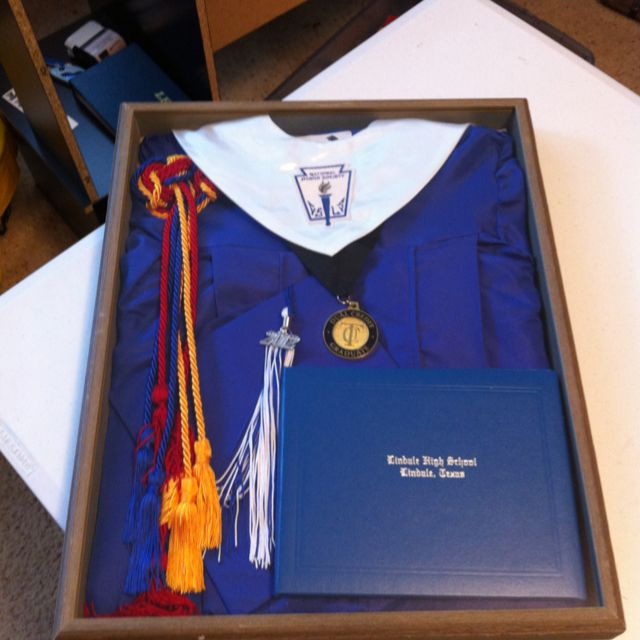 Graduation shadow box! Chords, tassel, diploma, and cap!