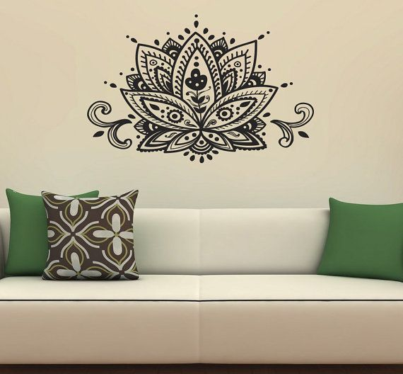 Housewares Wall Vinyl Decal Lotus Flower Patterns Art Indian Design Murals Interior Decor Sticker Removable Room Window SV2346 by supervinyldecal. Explore more products on http://supervinyldecal.etsy.com