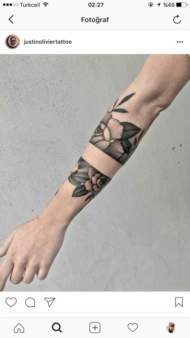 80 line tattoos to wear symbolically - Floral Geometric Tattoo