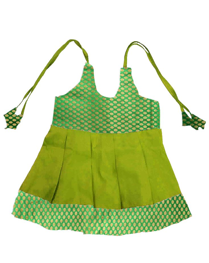 #kidsfrocks #kidspattufrocks Green with Light Green Pattu Frocks only at www.bujuma.com