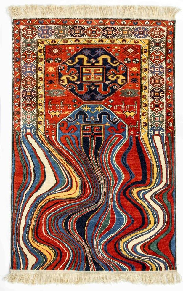 Faig Ahmed explores composition of a traditional Azerbaijanian carpet by disjointing its structure and placing its elements into open space.