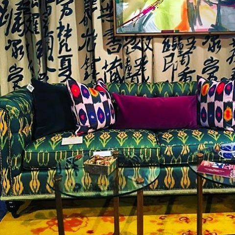 It's a color explosion 💥 my new fabric launching tomorrow at @design_legacy #hpmkt2015 #WANDERLUST #interiorsthatbringtheworldhome @rizzolibooks STOP BY 126 Virginia Place
