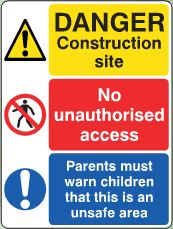 Danger Construction Site notice image