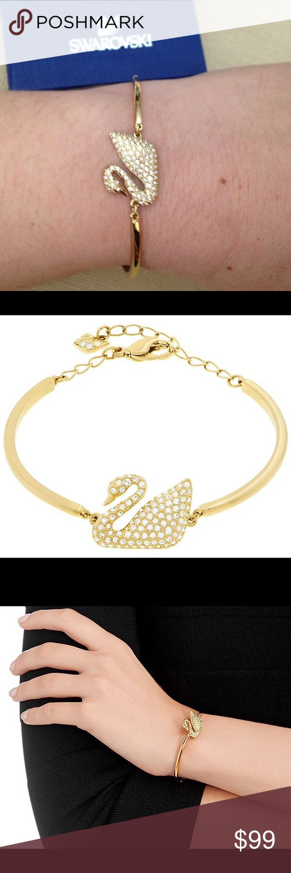 SWAROVSKI Swan Bangle Swan Bangle This refined and timeless gold-plated bracelet boasts the iconic symbol of Swarovski: a beautiful swan sparkling in clear crystal pavé. Easy to wear, this sophisticated creation suits any outfit at any time of the day.  Size: 5 7/8 inches Swarovski Jewelry Bracelets