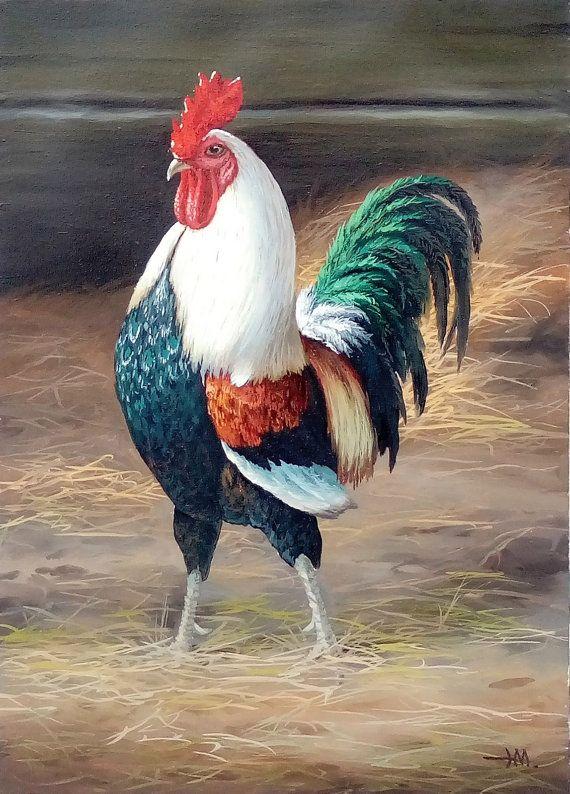 Pintura de gallo. El símbolo del año nuevo 2017 por OilartBoutique