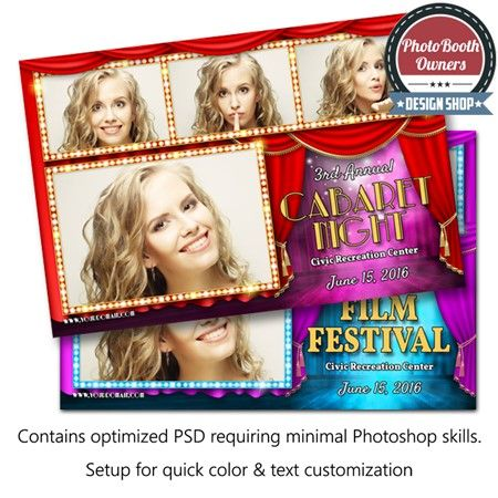 Have a Hollywood themed event coming up? Want to deliver to your client red carpet style? This template is the perfect choice for that prom, show opener, fundraiser or any other Hollywood sized event. From the show curtains to the event information on stage, this template has class. All elements can easily be color adjusted to compliment any event. This template is a postcard arranged in a 3×1 photo arrangement.