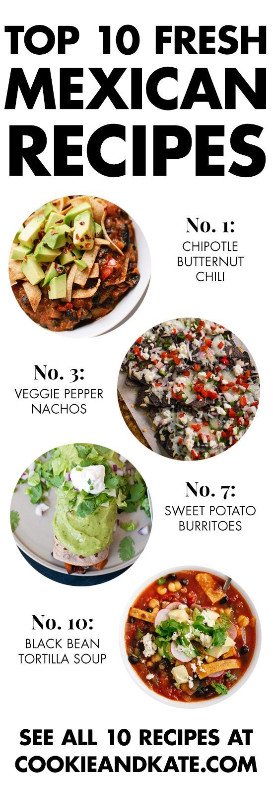 Find 10 vegetarian Mexican recipes at http://cookieandkate.com