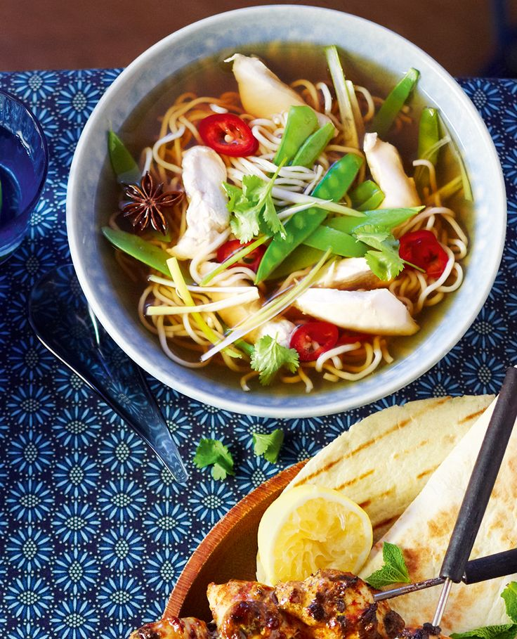 This aromatic chicken noodle soup is bursting with flavour and makes an exciting and healthy supper.