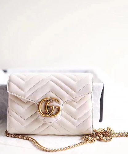 3c5499ffe Replica Gucci GG Marmont matelasse mini bag 474575 Cream #6953 2 ...