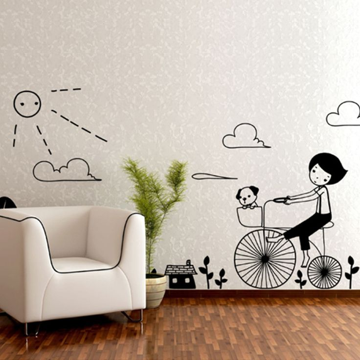 Large size green wall stickers living room bedroom decoration background diy wall stickers bike girl