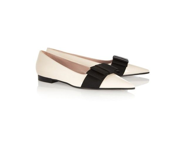 MIU MIU Bow-Embellished Patent-Leather Loafers $595 #shoes #flats #designer