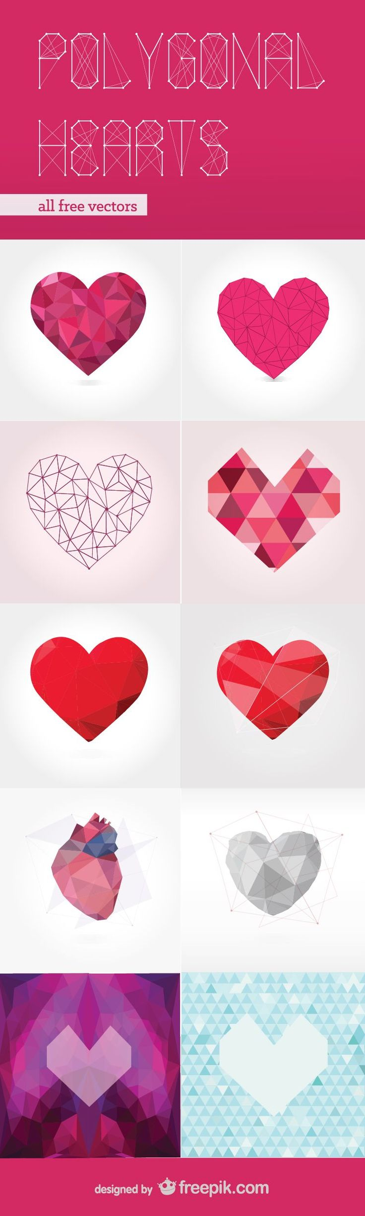 Polygonal Hearts Free Vector Pack