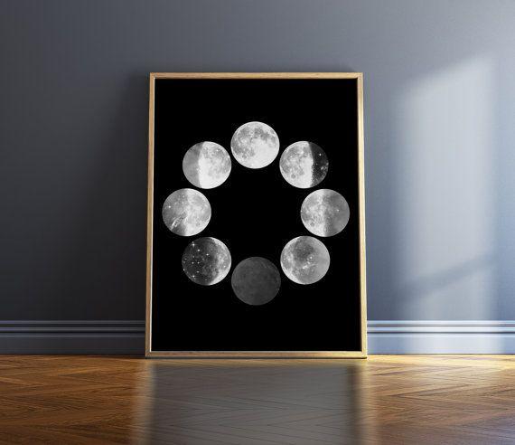 Mondphasen Print schwarz / weiß Drucken Moon Phase Wand Kunst