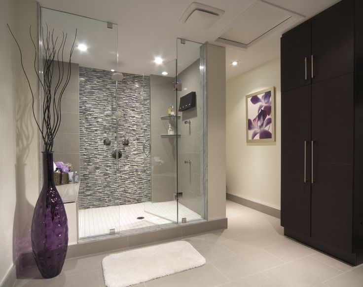 Contemporary bathroom with black and white shower tile a for Espresso bathroom ideas