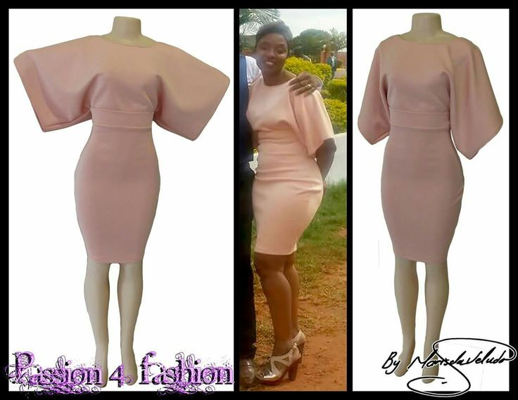 Pinky nude fitted short smart casual dress with angel wing sleeves and waistband effect. #mariselaveludo #fashion #smartcasualwear #smartcasualdress #nudepinkdress