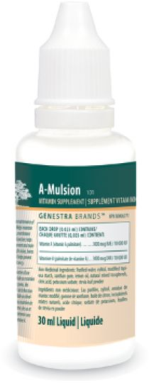 A-Mulsion by Genestra - A-Mulsion is indicated as a factor in the maintenance of good health; helps maintain eye sight, skin membranes and immune function; helps in the development and maintenance of night vision, bones and teeth and helps prevent Vitamin A deficiency.