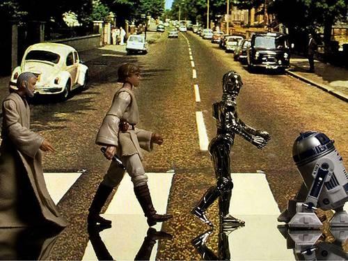 Bonecos de 'Guerra nas estrelas' recriam foto clássica dos Beatles em Abbey Road  Foto: David Eger