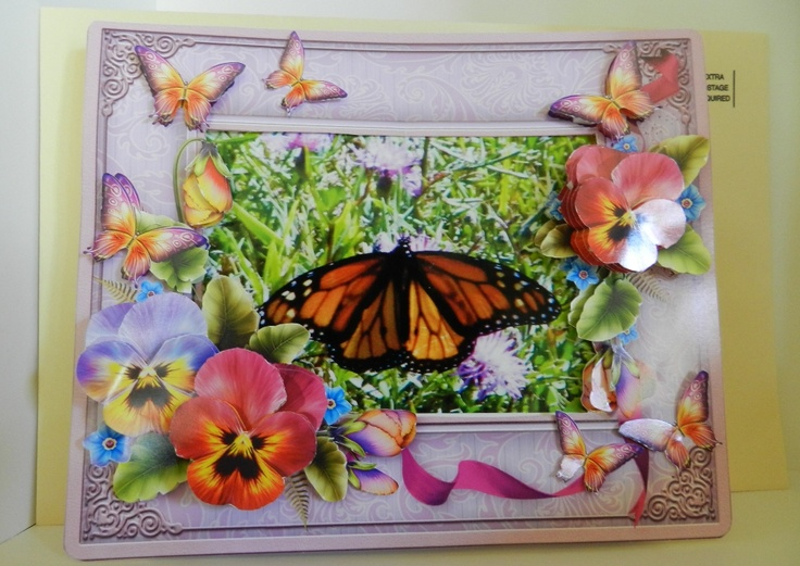 Item No. 58-handmade Decoupage Photo Frame Greeting Card with envelope. $5.00 each.