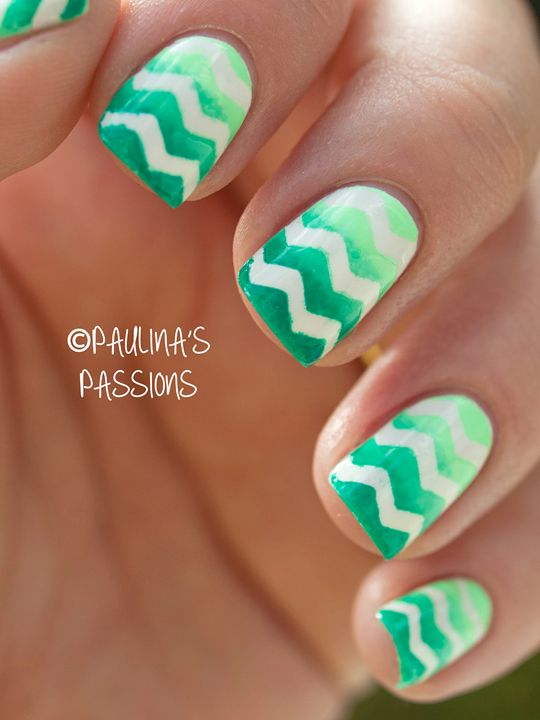 Gradient Chevron Nails Perfect for upcoming spring!