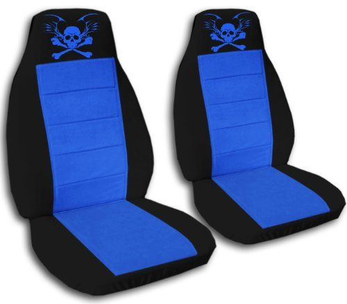Black and blue seat covers with a #skull for a 2004-2005 Ford Ranger. 60/40 seats, arm rests included.