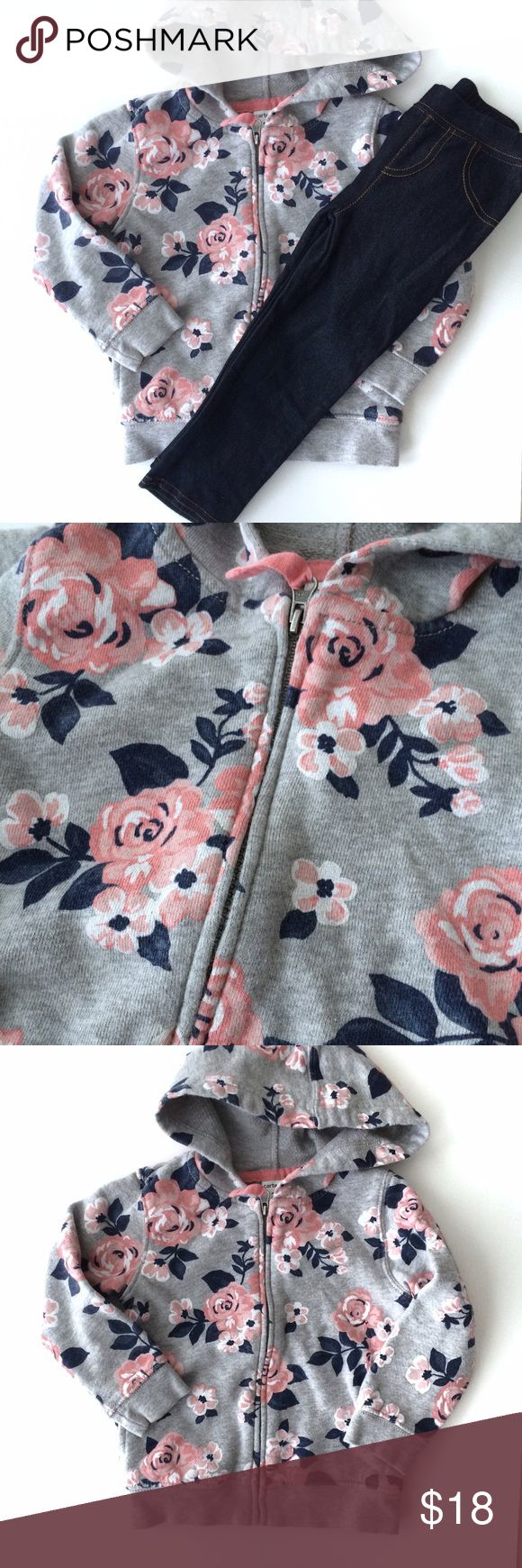 Floral Zip up and Jean Leggings Carter's Floral zip up in grey with pink roses and navy leaves, and Children's Place knit denim leggings. Both are in EUC. Shirts & Tops Sweatshirts & Hoodies