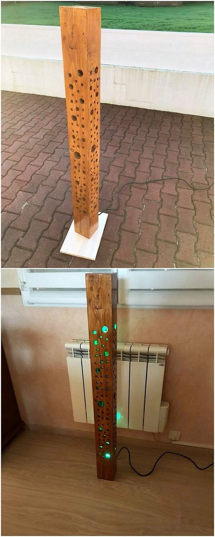 Arrange and organize the wood pallet planks into one form of arrangement and make it create with something really enjoying in your free time for lamp stand purposes. It is a fantastic set of lamp stand which you can put into your bedroom areas as the piece of decoration.
