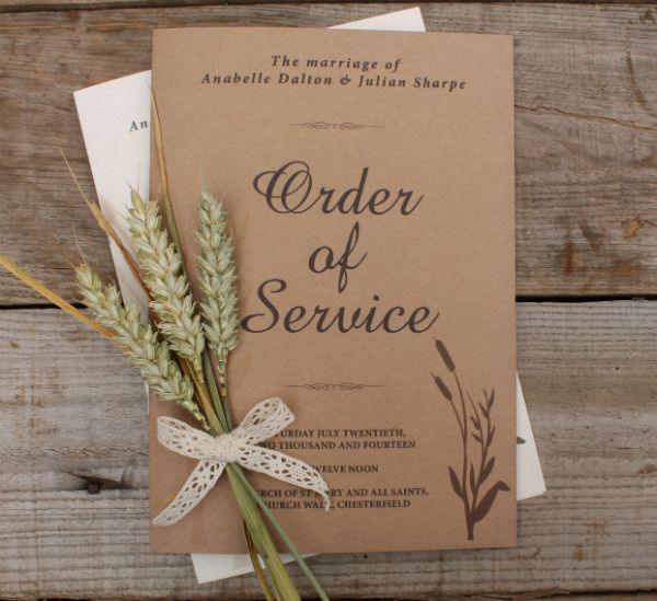 Brown Kraft Order Of Service Very Eco Friendly And Great For A Rustic Look