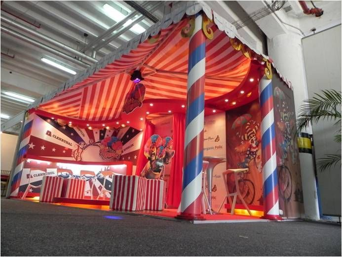 Colorful carnival-themed exhibit display #exhibitionstand