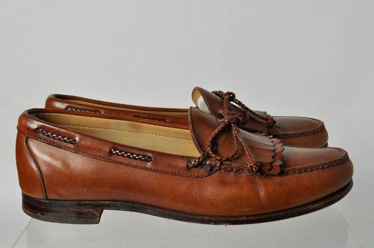 Allen Edmonds Brown Bow Fringed Vamp Slip On Loafer Boat Shoes ...