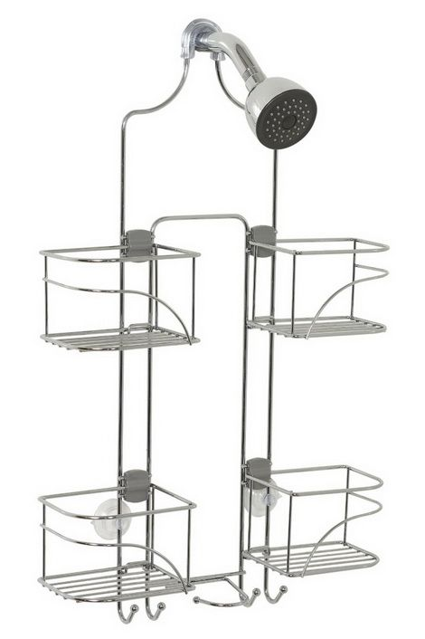 BATHROOM ORGANIZING SOLUTIONS - Expandable Shower Caddy for Hand Held Shower or Tall Bottles