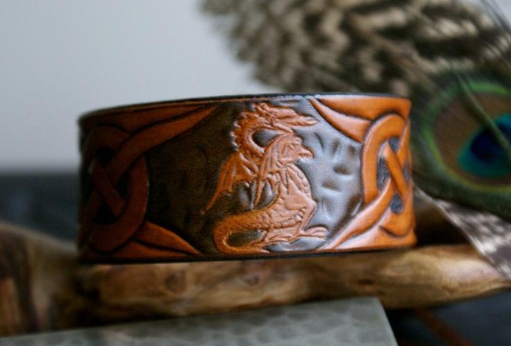 Leather Wristband-Celtic Dragon Leather Wristband-Celtic Knot Work leather Wristband-Leather Wristbands- Leather Wristband with Dragon. $23.00, via Etsy.