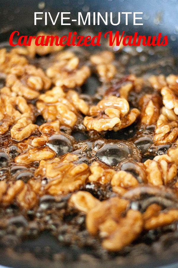 Five-Minute Caramelized Walnuts. The easiest thing you will ever make. Can be added to ice cream, salads, and more!