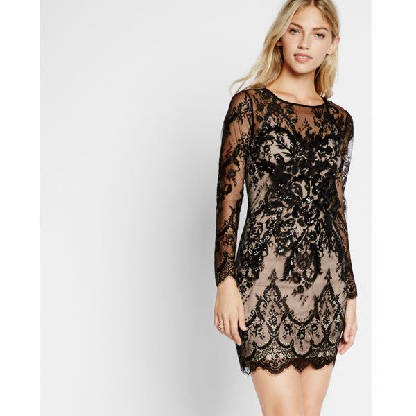 Express Lace Sheath Dress ($59) ❤ liked on Polyvore featuring dresses, black, long sleeve going out dresses, sheath dress, going out dresses, shiny dress and lace slip dresses