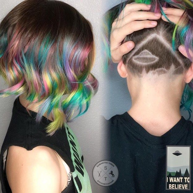 This covert UFO landing. | 16 Colorful Undercuts That Are Insane And Great At The Same Damn Time
