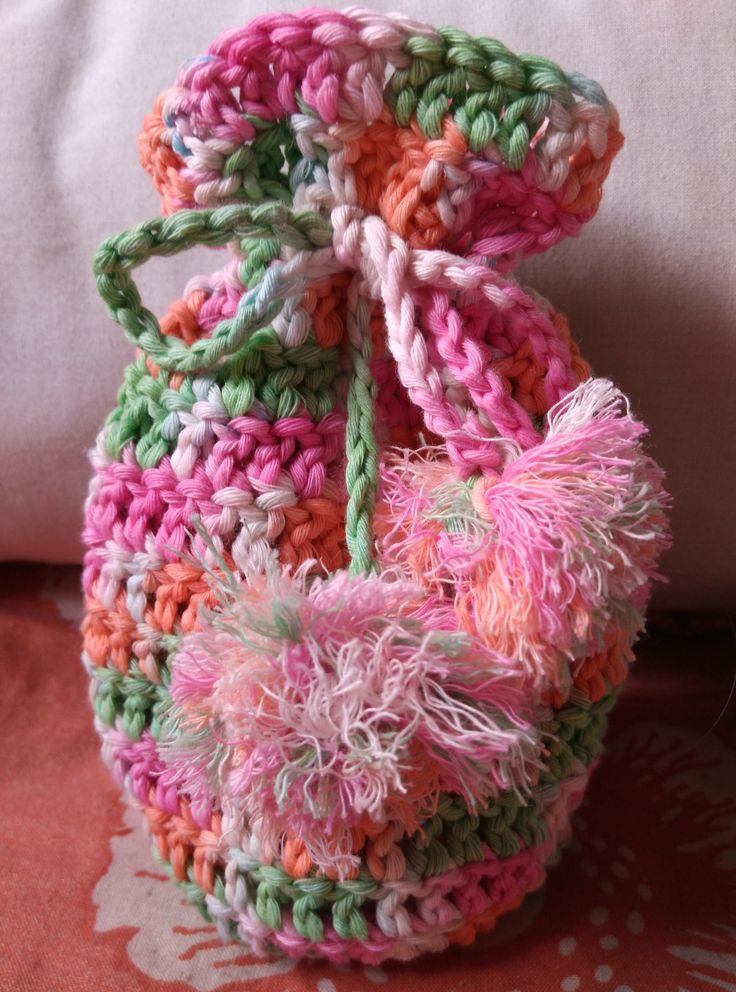 Pouch with pompom #crochet #crocheting #pouch