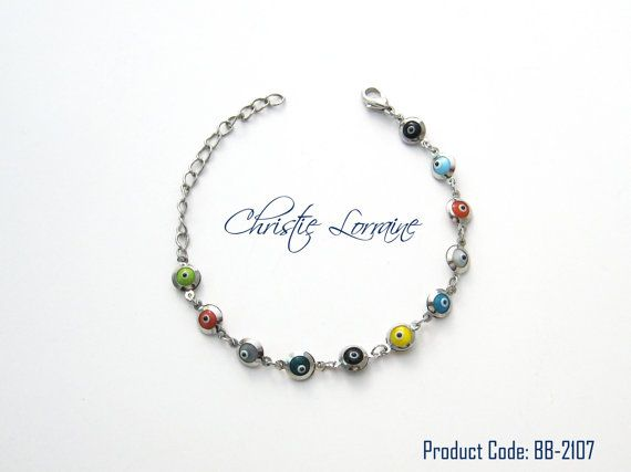 Multicolor Evil Eye Beads Silver Plated by CHRISTIELORRAINE, $13.90