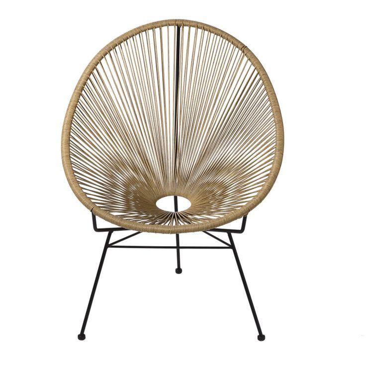 Ronde Tuinfauteuil Van Hars Met Rotaneffect Maisons Du Monde Armchair Rattan Sun Lounger Cushions