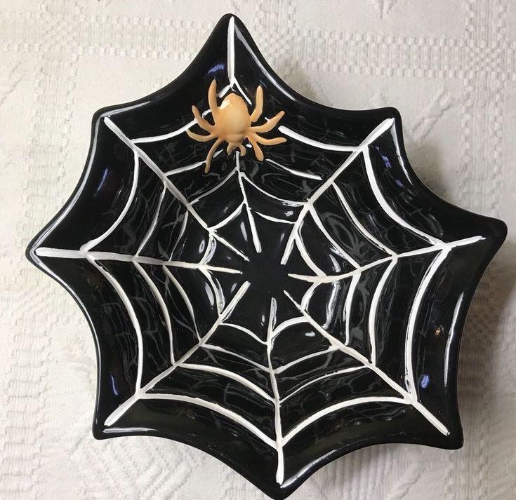 Pottery Barn Halloween Spider Web Bowl Candy Dish Black White Holiday Decor EUC    eBay