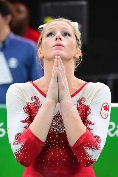 Canada's Brittany Rogers reacts after the qualifying for the women's Artistic Gymnastics at the Olympic Arena during the Rio 2016…
