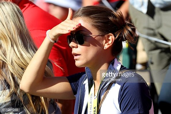 ... Annie Verret looks on during singles matches of the 2016 Ryder Cup at Hazeltine National Golf ...