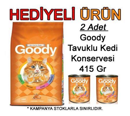 GOODY TAVUKLU KEDİ MAMASI 15 KG ( 2 ADET 415 GR KONSERVE HEDİYELİ ) :: Zinde Market