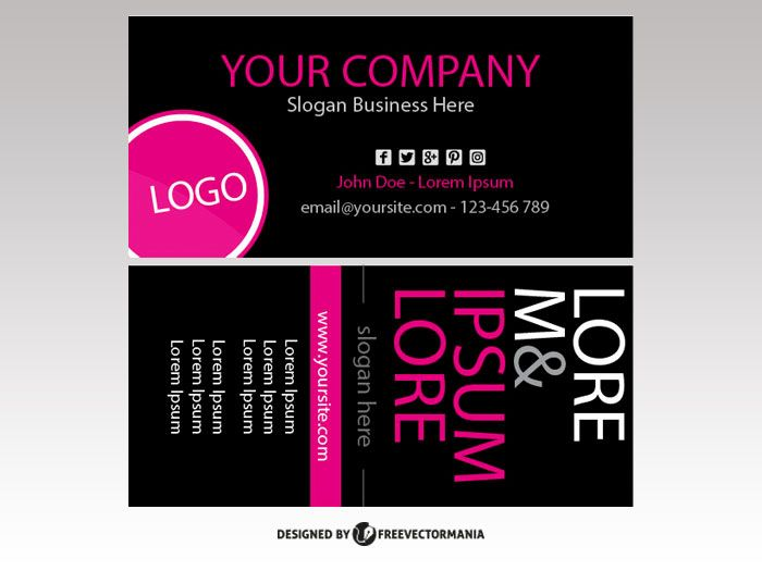 Vector Business Card Narrow In Pink And Black Vector Business Card Cards Business Cards