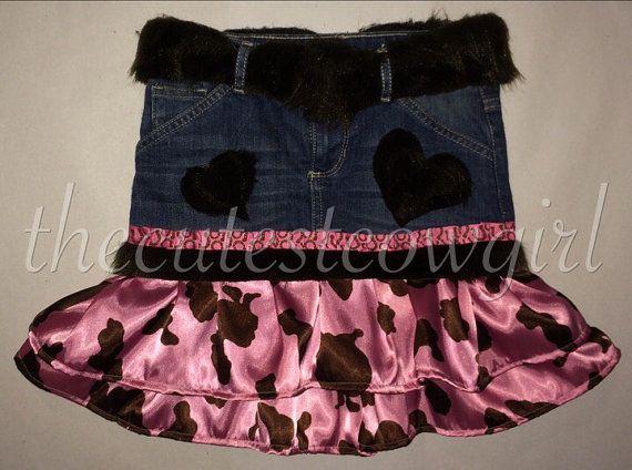 Custom Girls cowgirl Rhumba Ruffle Pink Brown by TheCutestCowgirl