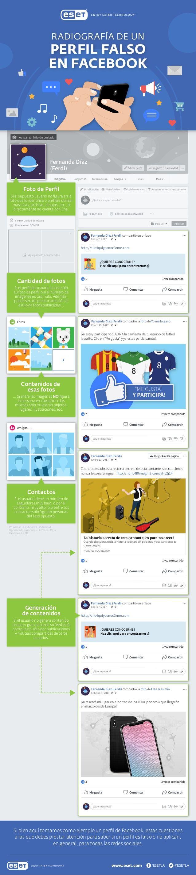 Radiografía de un perfil falso de Facebook #infografia #infographic #socialmedia